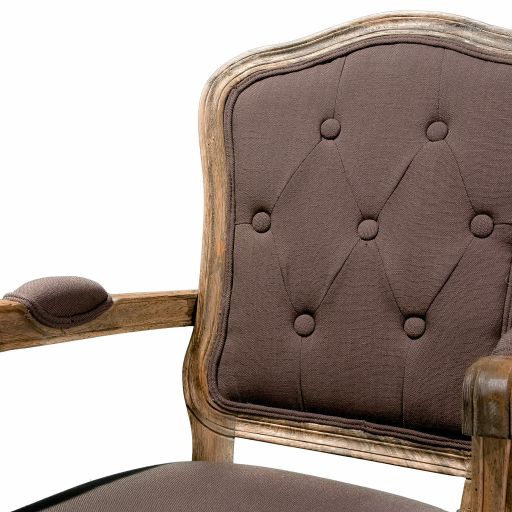 817056016448 Stanley Weathered Tufted Mocha Brown Fabric Arm Chair Detail View
