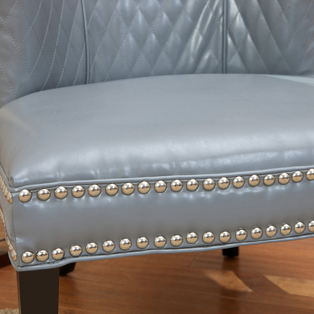 Portland Grey Quilted Leather Chair