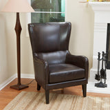 Salerno Brown Leather Studded Club Chair