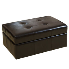 817056017162 - Burgos Black Leather Storage Ottoman - Full View White Background