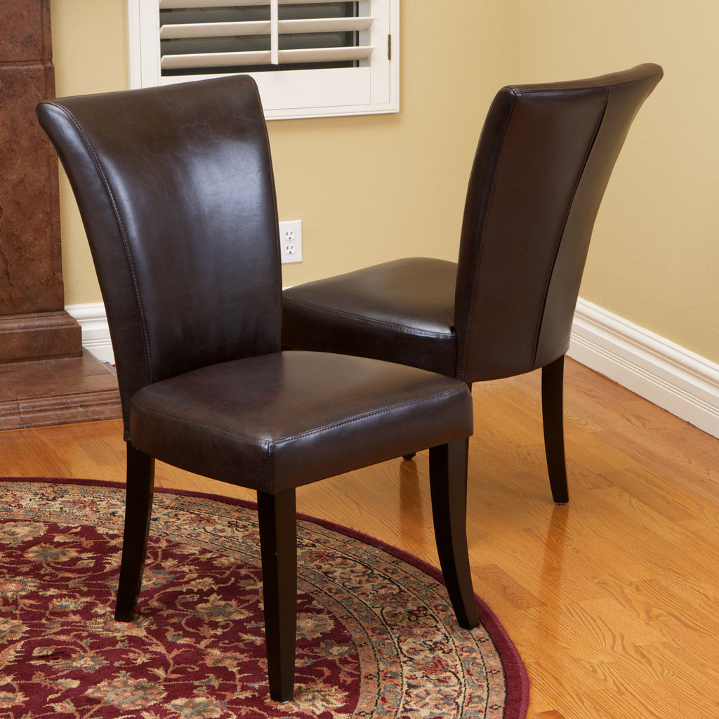 817056018206 Elmore Brown Leather Dining Chairs (Set of 2)