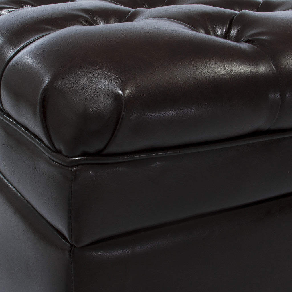 817056018671 Barton Tufted Brown Leather Storage Ottoman Leather Detail
