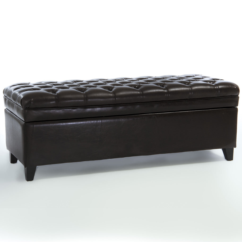 817056018671 Barton Tufted Brown Leather Storage Ottoman White Background
