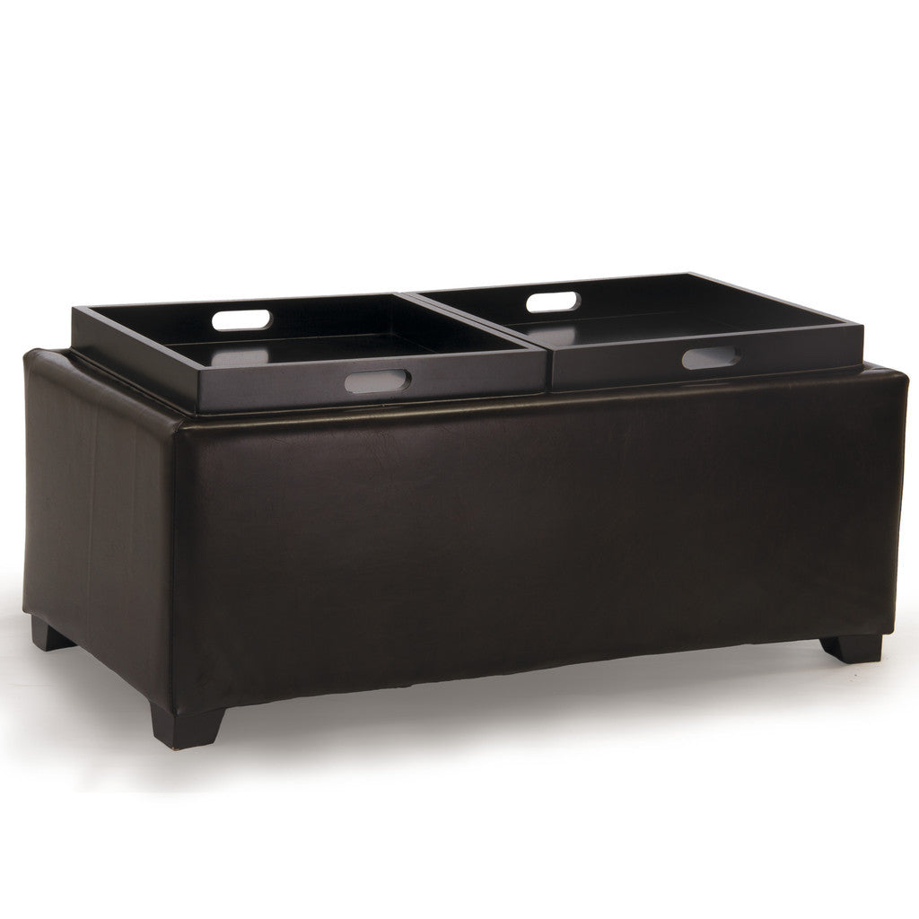 817056018770 Devonshire Brown Leather Tray Ottoman Tray View