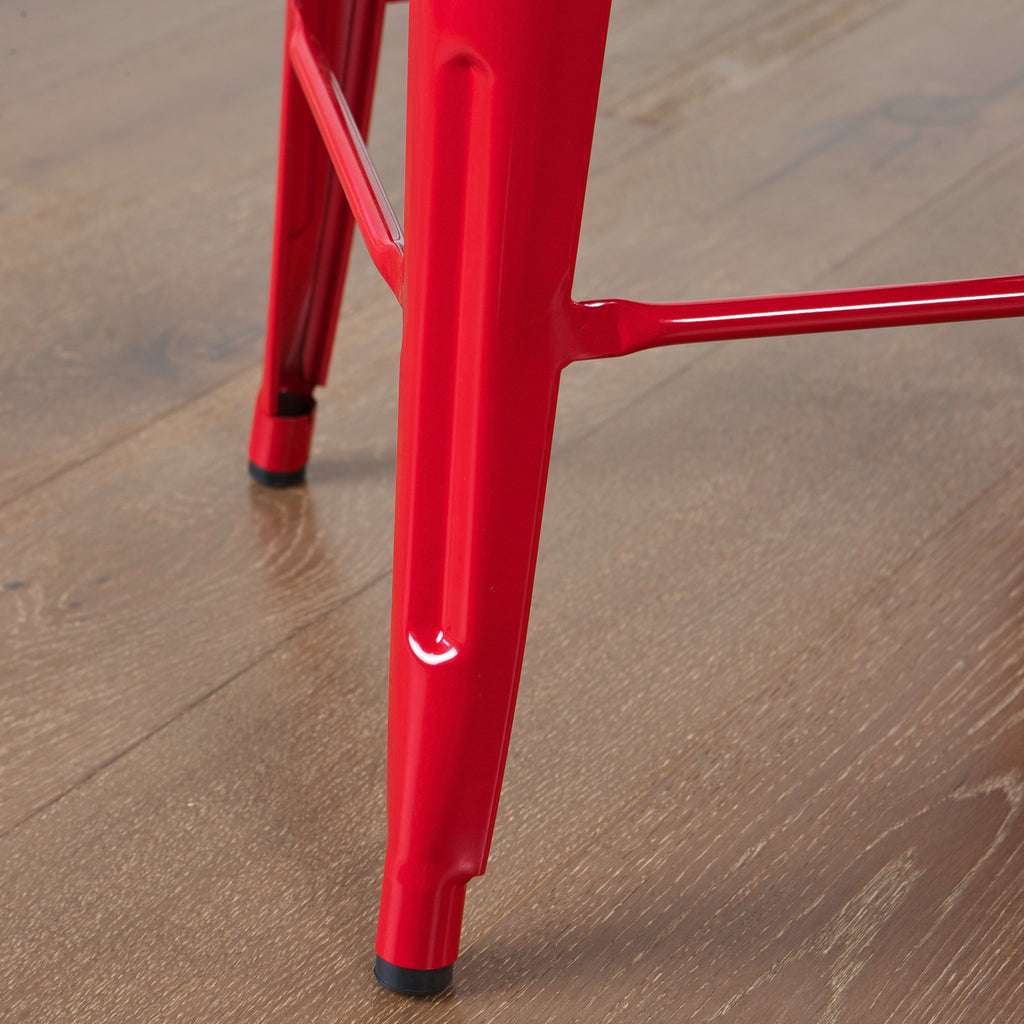 817056019258 Munich Red Steel Counter Stools Leg View