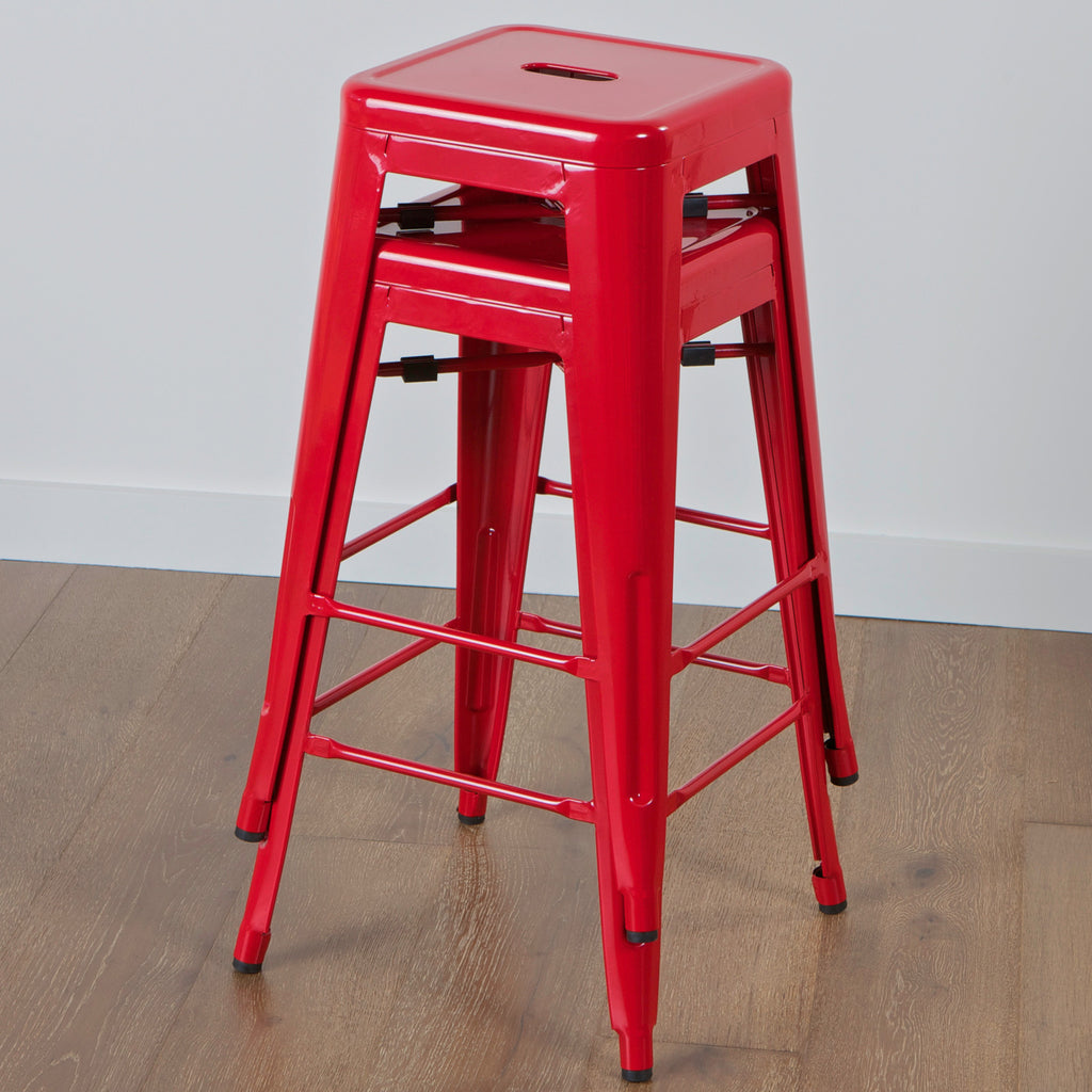 817056019258 Munich Red Steel Counter Stools Stacked View