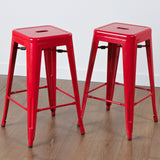 817056019258 Munich Red Steel Counter Stools View in Room