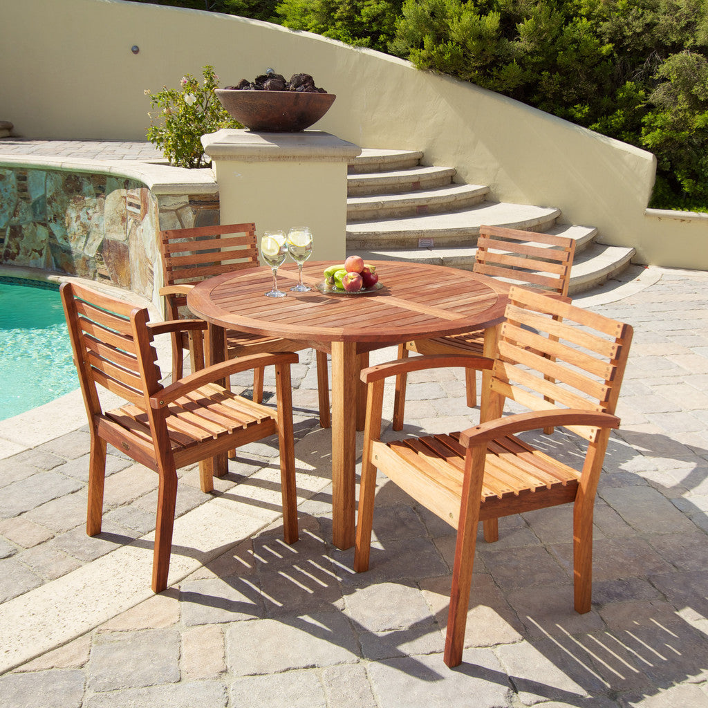 817056019760 Naples 5pc Natural Hard Wood Dining Set Full View Outdoors