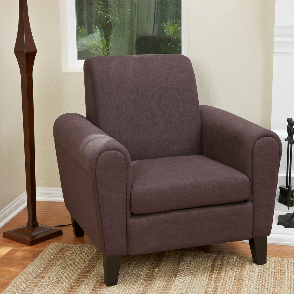 Luther Brown Fabric Club Chair