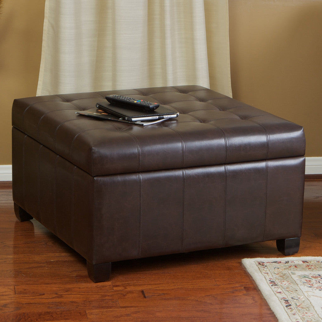 Lyncorn Brown Bonded Leather Storage OttomanGreat Deal