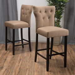 (Set of 2) Carlson Mocha Brown Fabric Counter Stool