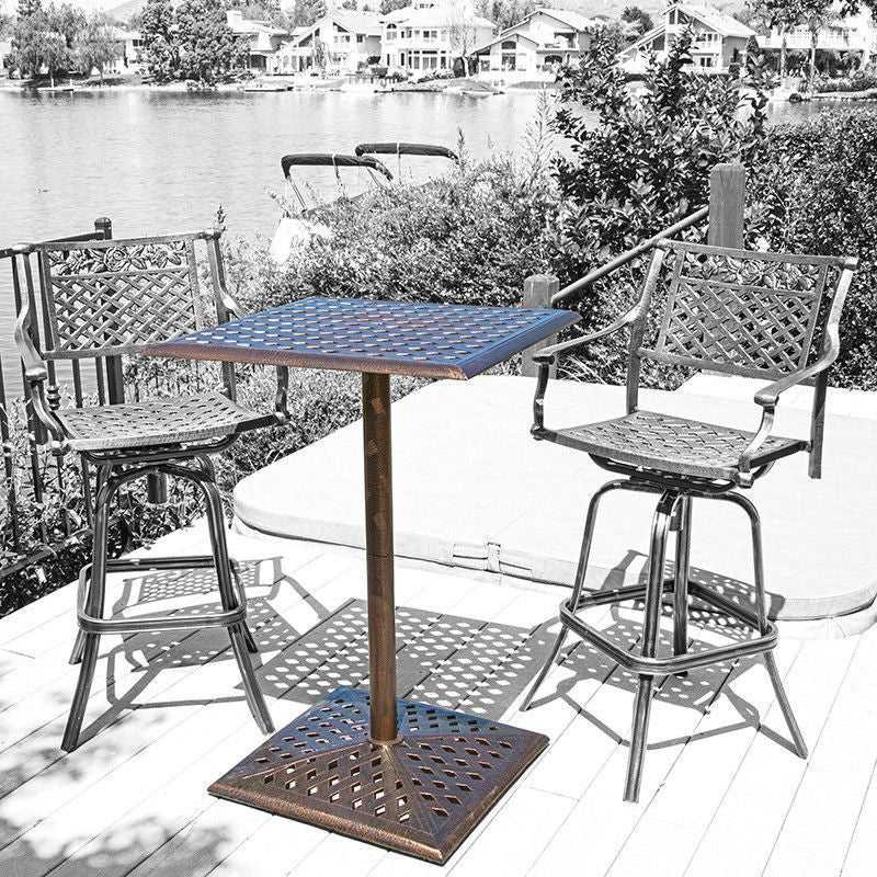 Athens outdoor cast aluminum bar table chairs are not included great deal furniture canada Home bar furniture canada