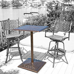 Athens Outdoor Cast Aluminum Bar Table (chairs are not included)