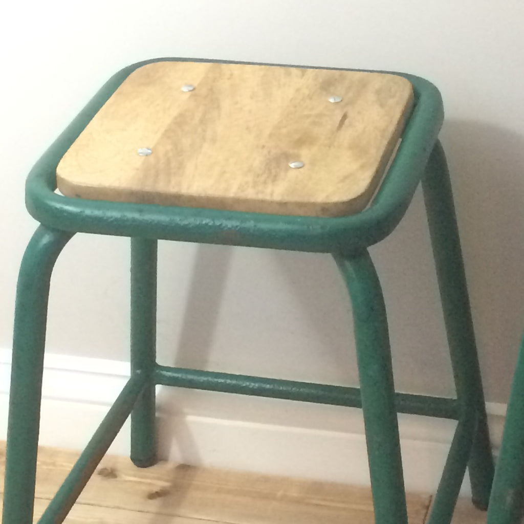 3 Green Metal Stools - edward & ellen