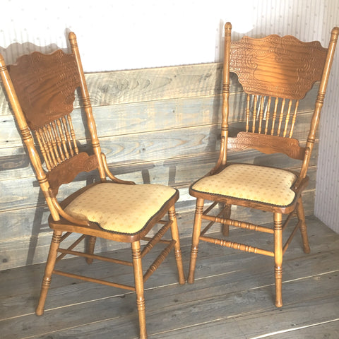 Pair of Belgium Upholstered Dining Chairs