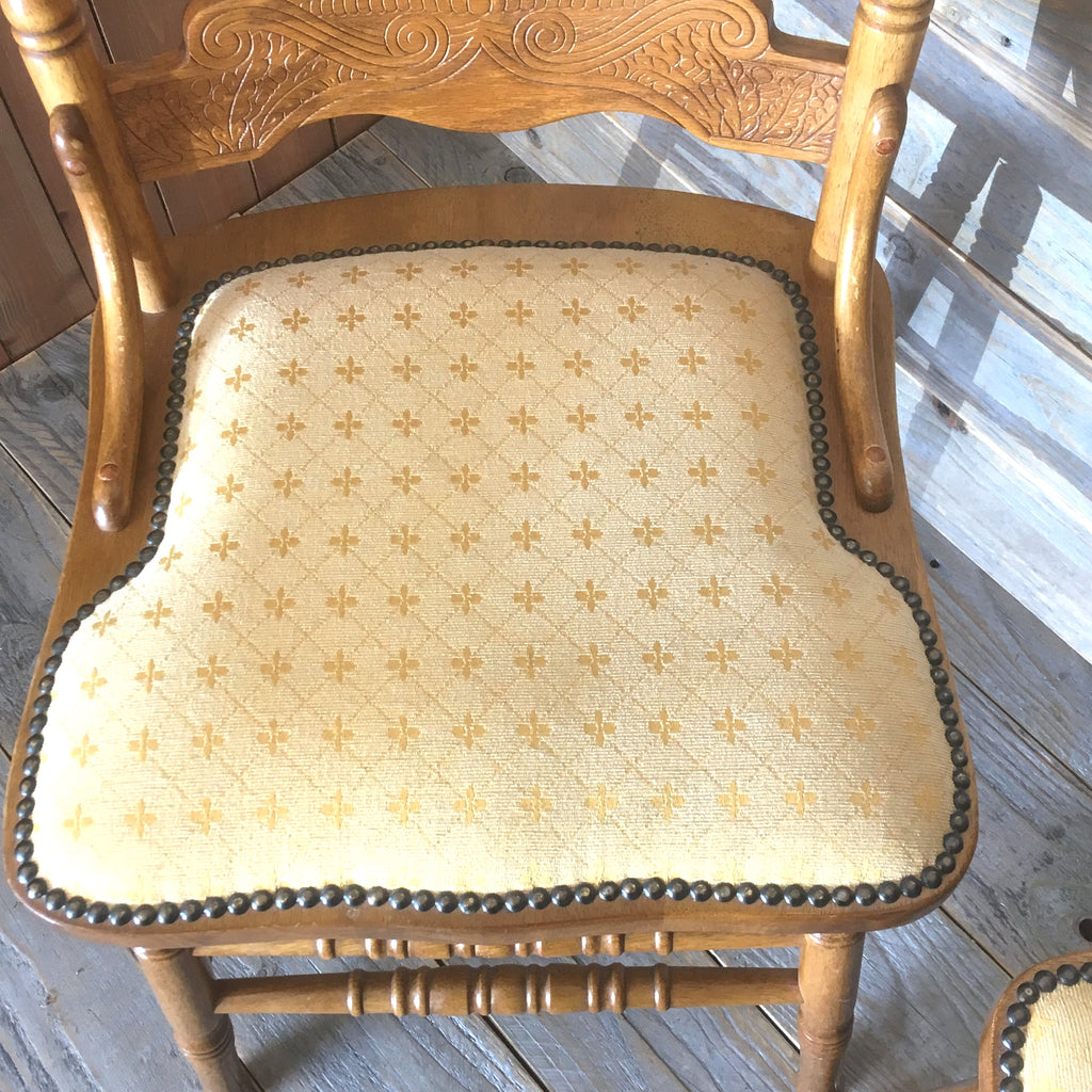 Pair of Belgium Upholstered Dining Chairs - edward & ellen