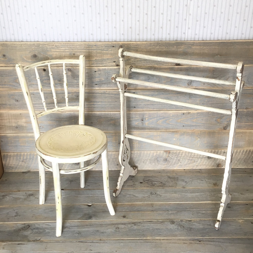 Painted Shabby Chic Chair and Towel Rail - edward & ellen