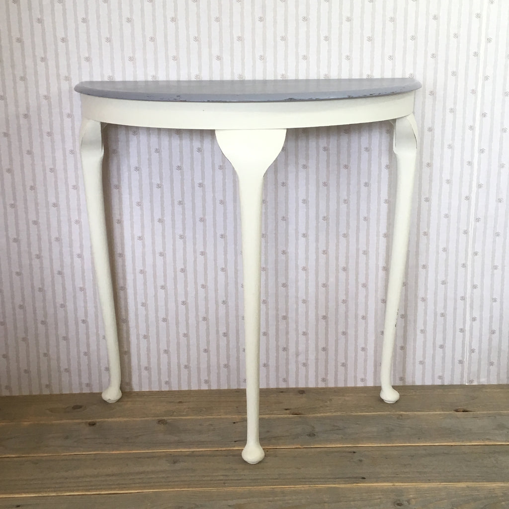 Hand Painted White and Grey Half Moon Table - edward & ellen