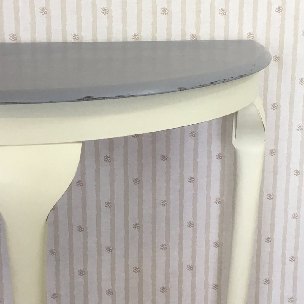 Hand Painted White and Grey Half Moon Table