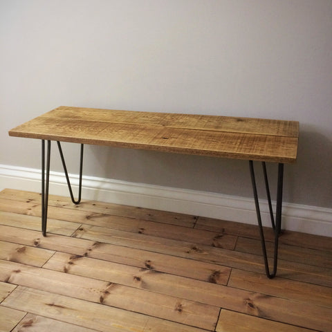Solid Oak Bench with Steel Hairpin Legs