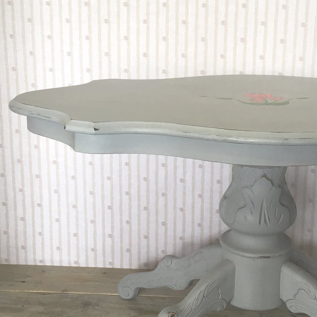 Grey Oval Coffee Table with Signature Flower Motif - edward & ellen