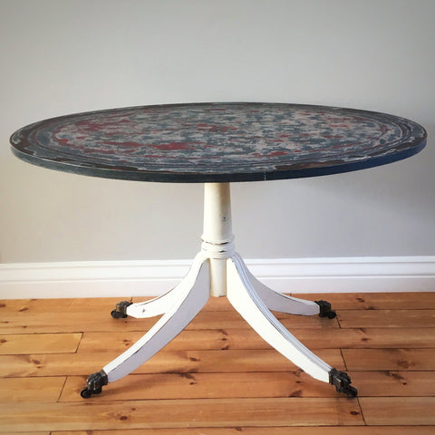Painted Oval Coffee Table on Brass Castors