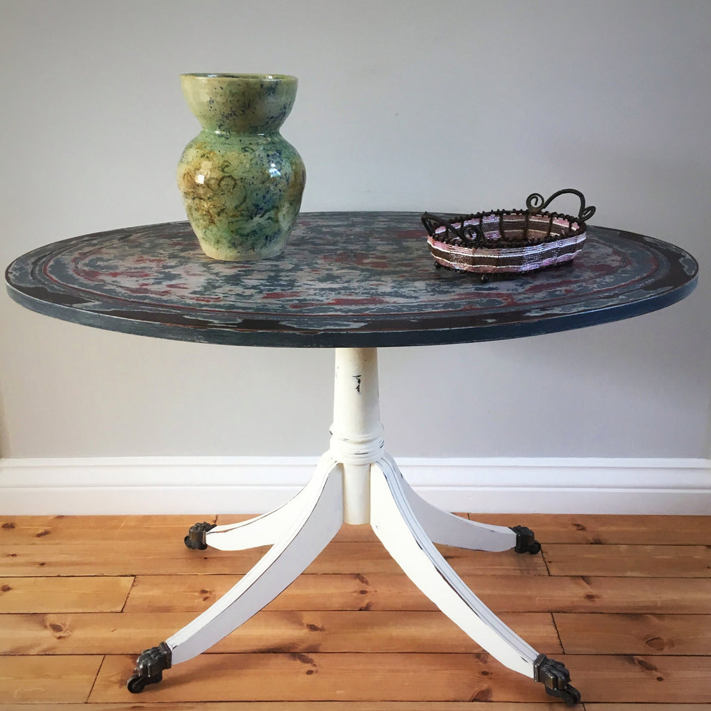 Painted Oval Coffee Table on Brass Castors - edward & ellen