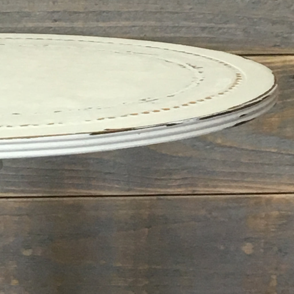 White Painted Oval Wine Table on Castors - edward & ellen