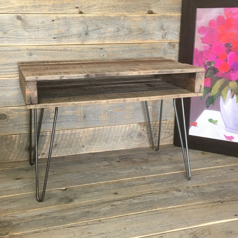 Recycled Pallet Occasional Table with Shelf and Hairpin Legs