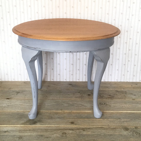 Natural and Grey Hand Painted Round Solid Wood Side Table