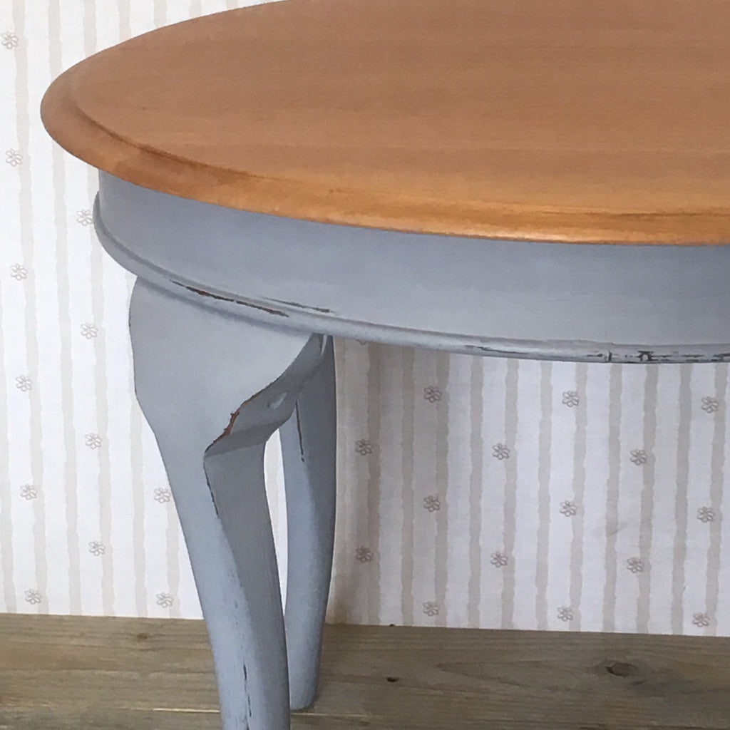 Natural and Grey Hand Painted Round Solid Wood Side Table - edward & ellen