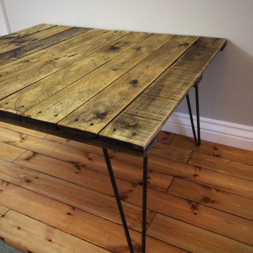 Rustic Reclaimed Pallet Coffee Table with Steel Legs - edward & ellen