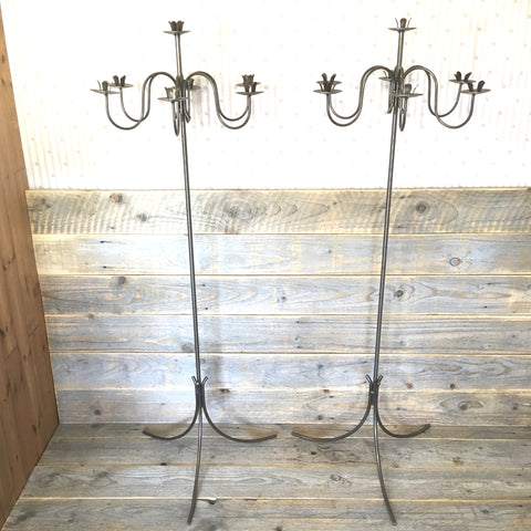 Two Tall Steel Candelabras