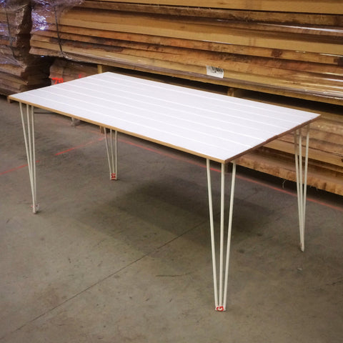 White Painted Hardwood Dining Table with White Hairpin Legs