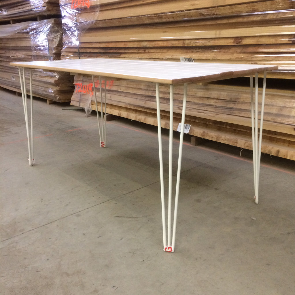 White Painted Hardwood Dining Table with White Hairpin Legs - edward & ellen