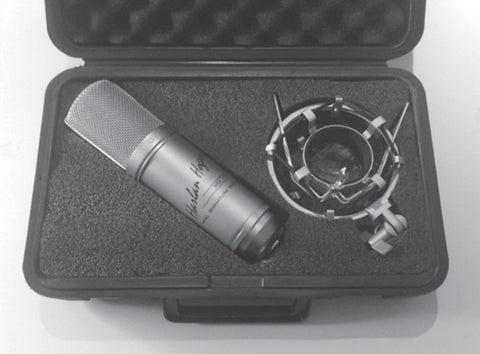 VO: 1-A Microphone, The Voice-Over Microphone shown with case and shock mount