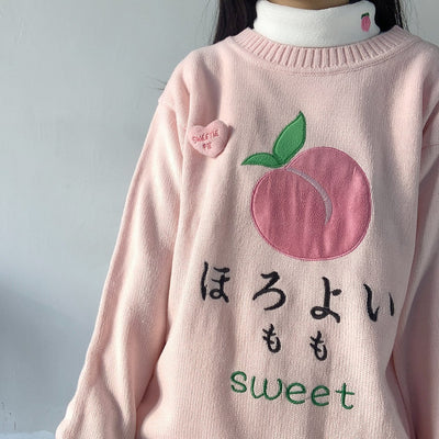Pull rose Broderie Kawaii - Miss Glamour