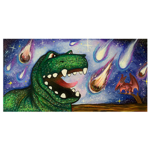 Dinosaur vs. Asteroids Canvas Print