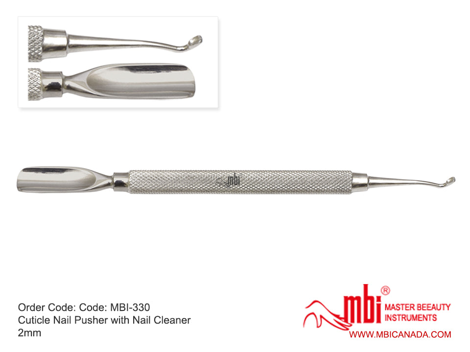 MBI-330 Cuticle Pusher With Nail edge Cleaner 2mm