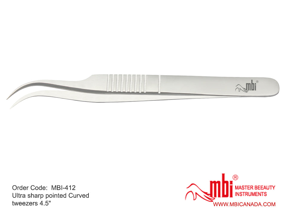 MBI-412 Ultra Sharp Pointed Curved Tweezers Size 4.5″ (Best for Eyelash extension)