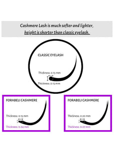 Forabelli Cashmere Eyelash Extensions - 16 Rows  CC Curl  0.15mm