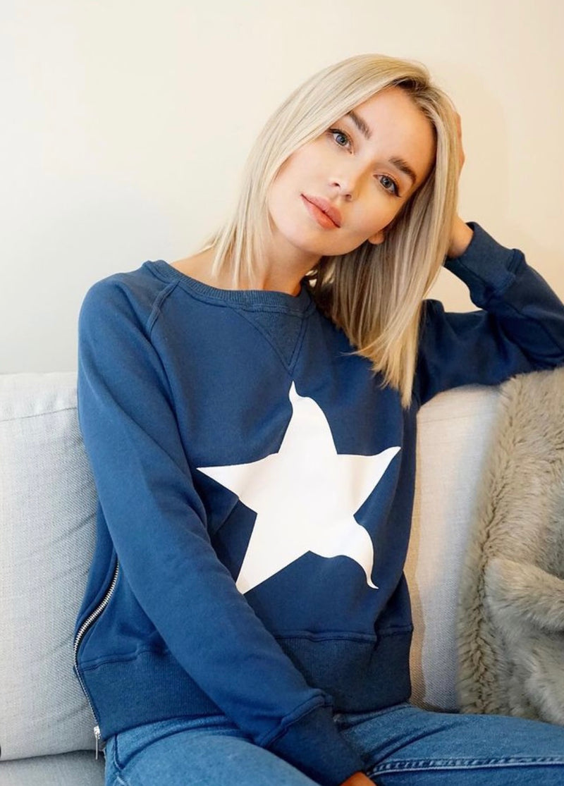 French terry cotton crewneck Sweatshirt in Vintage Blue with striking white star.