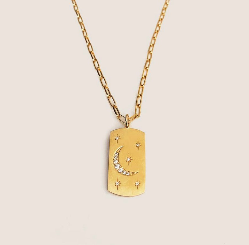 The Right Hand Gal-Fly Me To The Moon Dog Tag with an Open Link Chain