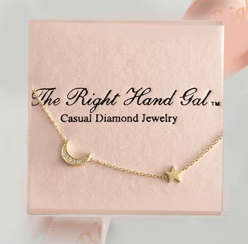 The Right Hand Gal-Fly Me To The Moon Dog Tag Necklace with a Crescent Moon Charm