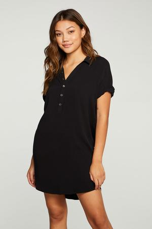 CHASER HEIRLOOM WOVENS ROLLED SHORT SLEEVE BUTTON DOWN MINI DRESS