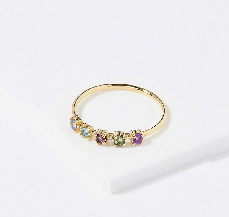 The Right Hand Gal-Five Step Ring with Sapphires