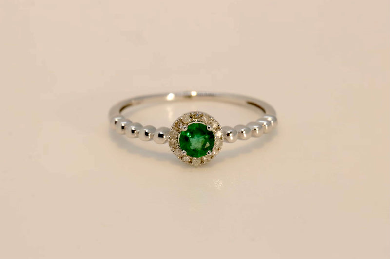 Beaded Emerald Ring