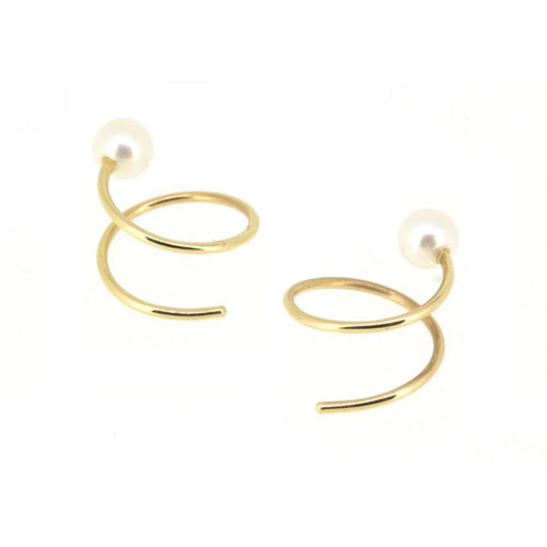 POPPY FINCH Pearl Spiral Earrings