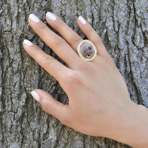ANNE SPORTUN One of a Kind Beige Rose Cut Sapphire Ring