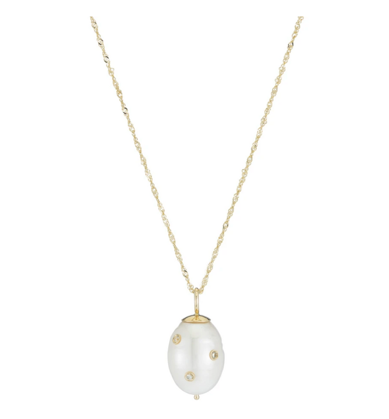 ARIEL GORDON Diamond Baroque Pearl Drop Necklace